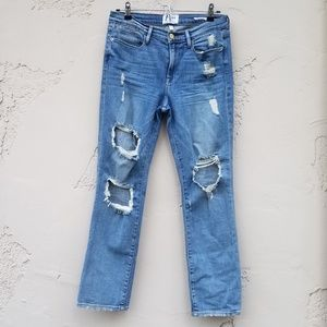 Frame Destroyed Le High Straight Jeans Size 28